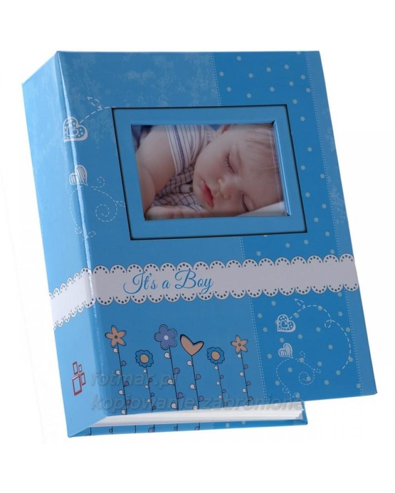 Śliczny NIEBIESKI album wsuwany na zdjęcia dziecięce 10x15-300 BAMBINI