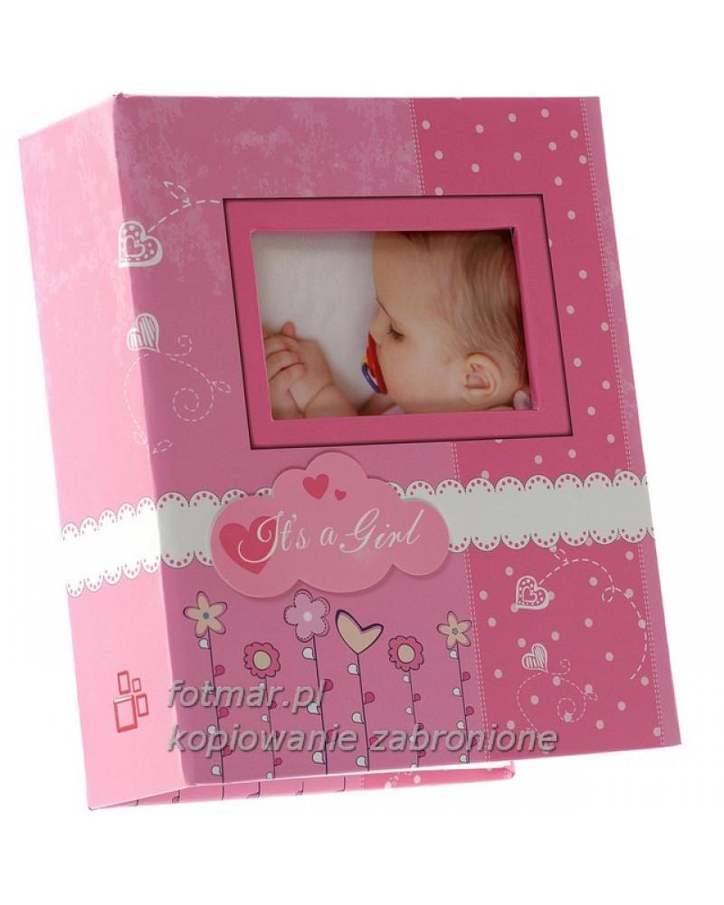 Śliczny różowy album wsuwany na zdjęcia dziecięce 10x15-300 BAMBINI