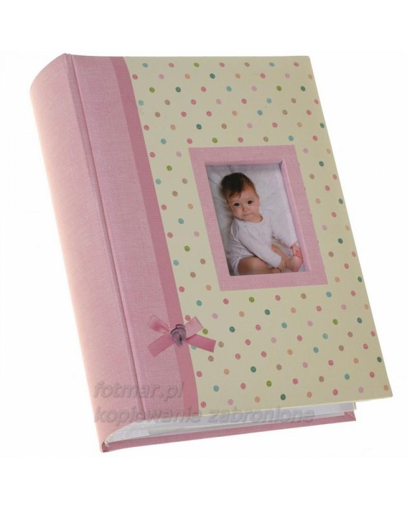 Różowy album szyty na 300 zdjęć 10x15 dla dziecka DROPPY