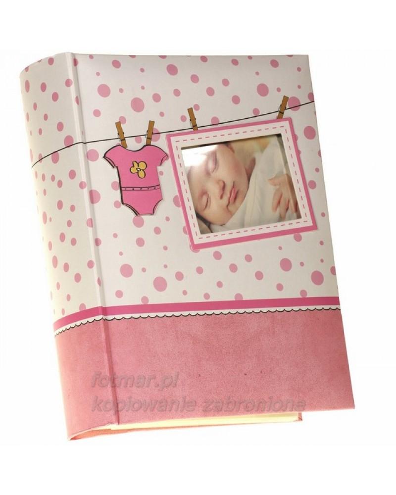 Różowy album szyty na 300 zdjęć 10x15 dla dziecka ŚPIOSZKI