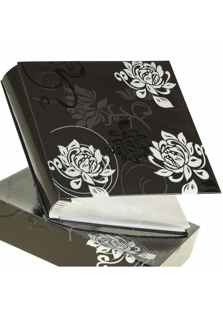 Album na 200 zdjęć formatu 10x15 w pudełku czarny w białe kwiaty