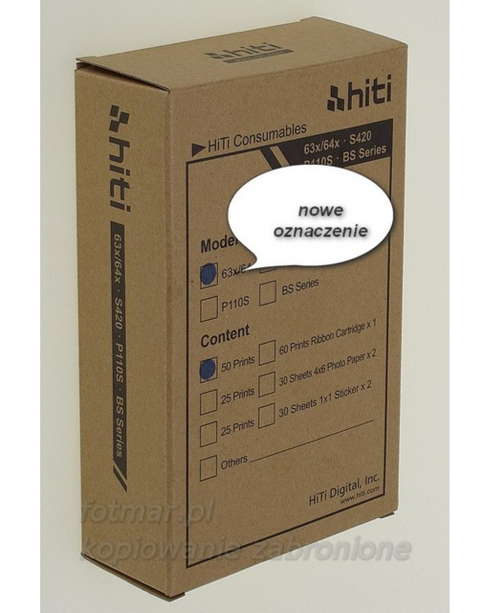Hi-Ti papier+folia na 50 zdjęć do drukarki ID630 ID640