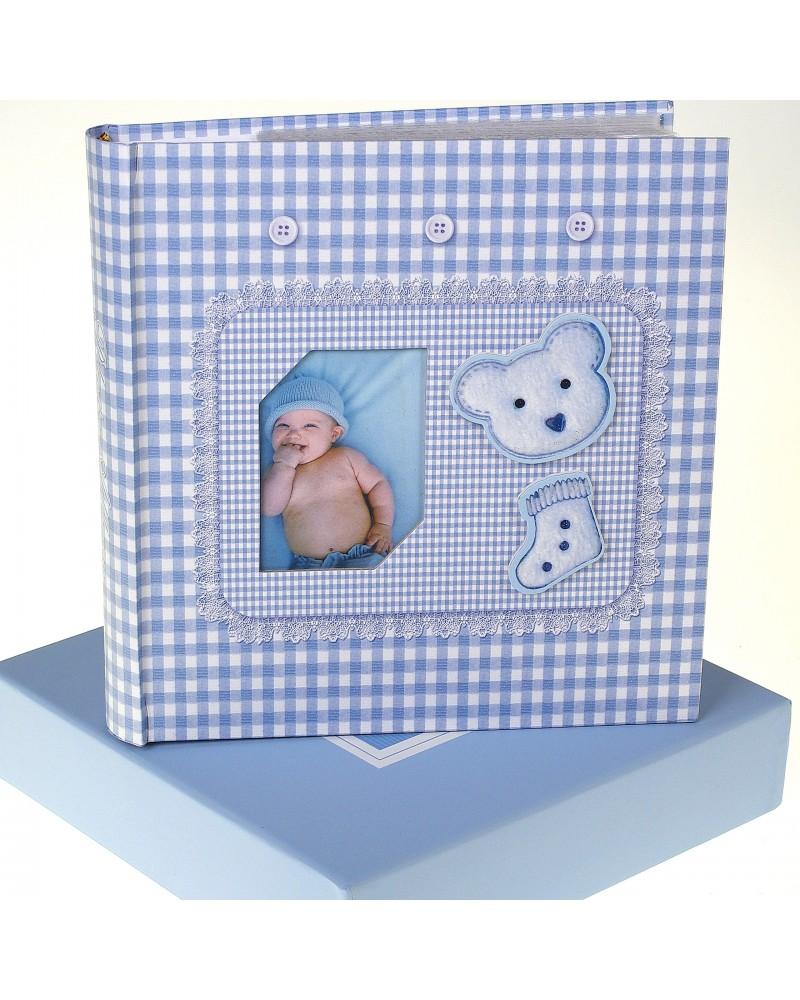 Niebieski album na zdjęcia dziecięce 10x15 na 200 zdjęć w pudełku z miejscem na opis BABY11