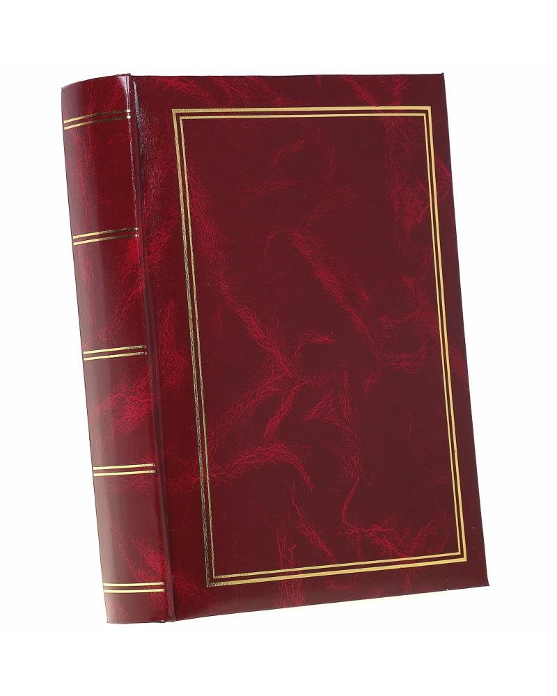 Klasyczyny bordo ze złotą ramką szyty album na 200 zjęć z opisem formatu 10x15