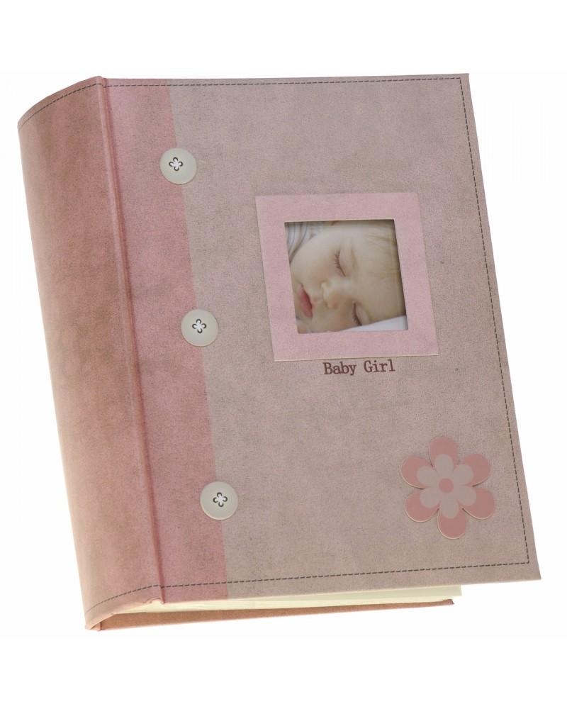 ALBUM ZDJĘCIA DZIECKA 10X15 300 ZDJĘĆ Różowy album szyty na 300 zdjęć 10x15 dla dziecka AD guziczki