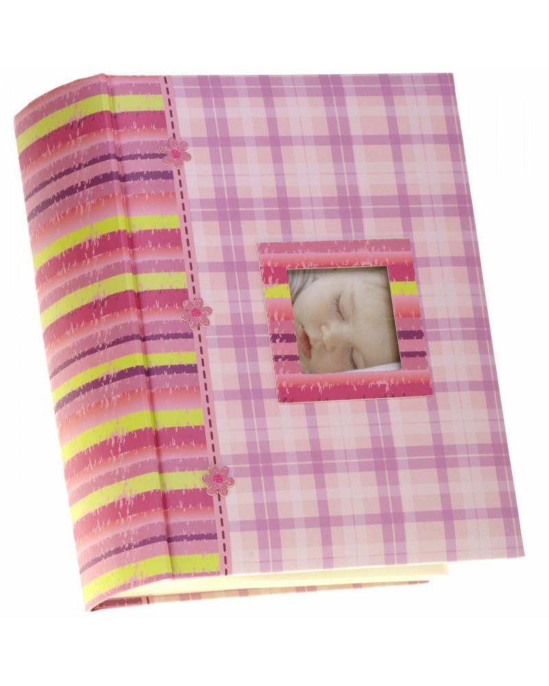 Różowy album szyty na 300 zdjęć 10x15 dla dziecka AD kratka