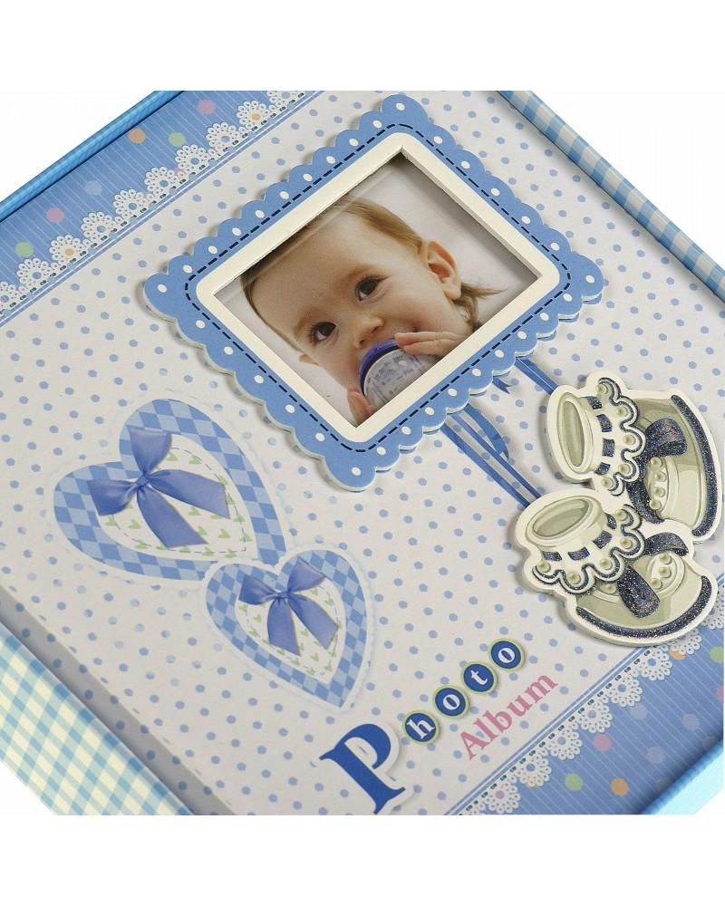 Niebieski album na zdjęcia dziecięce 10x15 na 200 zdjęć w pudełku z miejscem na opis BABY14