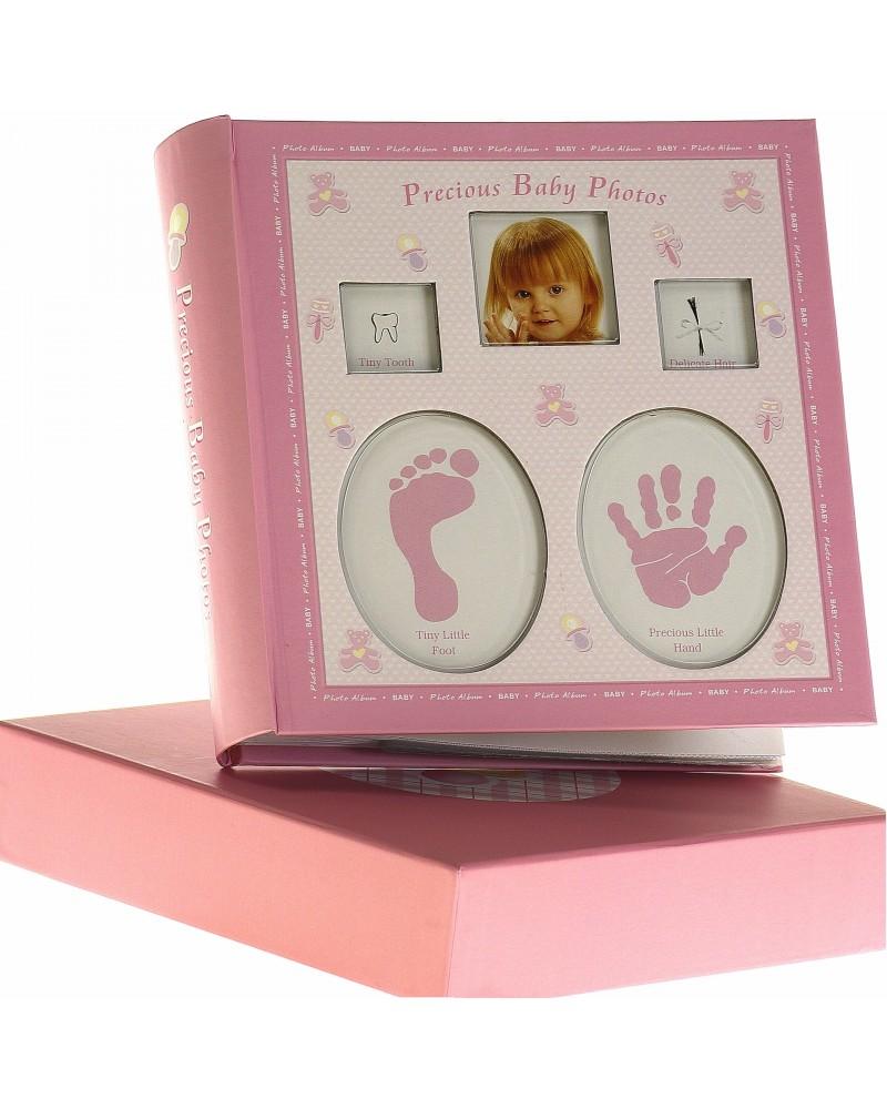 Różowyalbum na zdjęcia dziecięce 10x15 na 200 zdjęć w pudełku z miejscem na opis BABY2