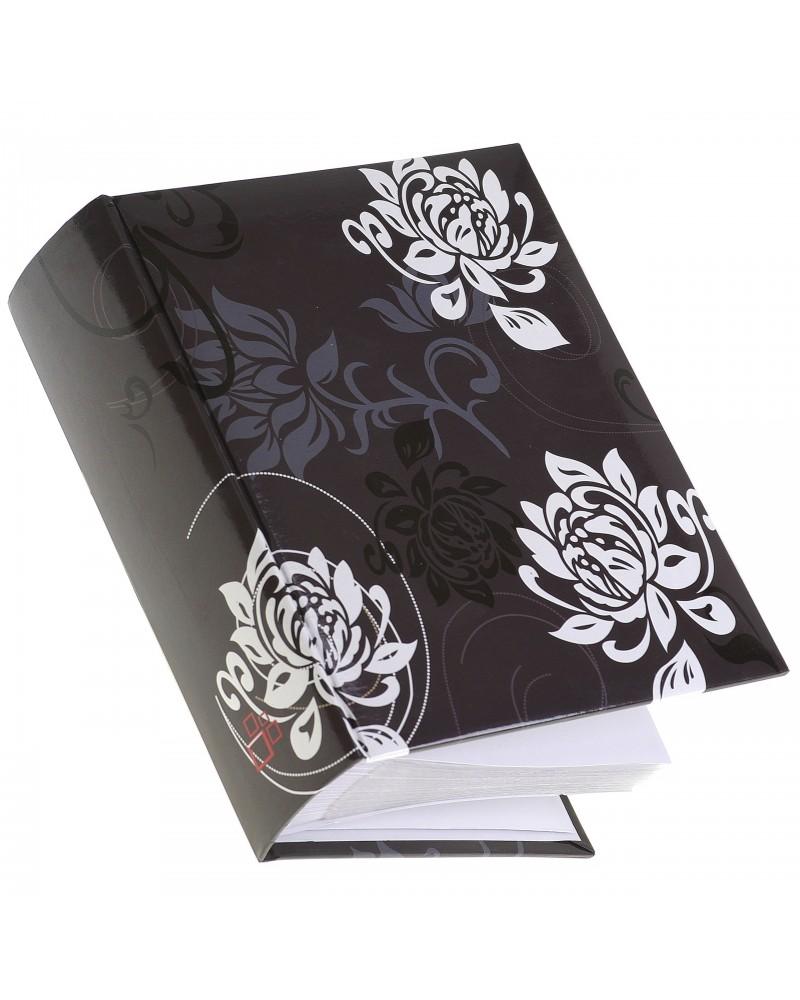 Czarny album w białe kwiaty 10x15 na 300 zdjęć B&W