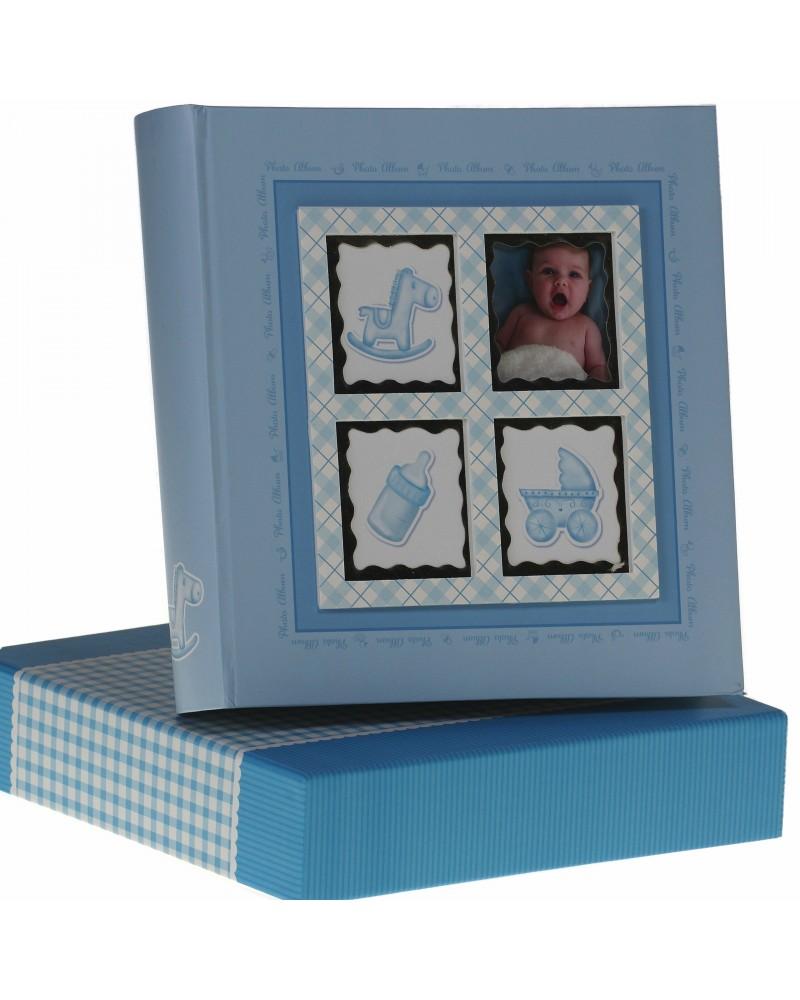 Niebieski album na zdjęcia dziecięce 10x15 na 200 zdjęć w pudełku z miejscem na opis BABY6