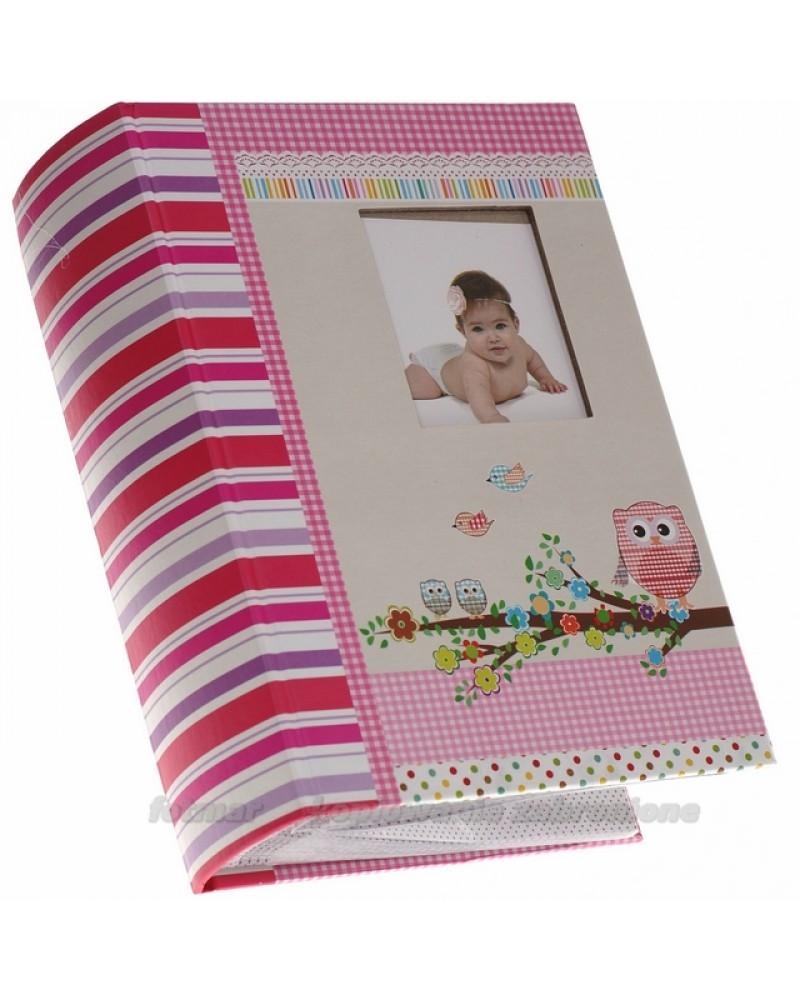 Szyty różowy album na 300 zdjęć 10x15 dla dziecka Owlet
